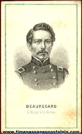 Early Engraved Image Card Of Beauregard