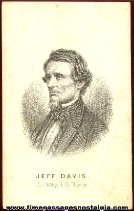 Early Engraved Image Card Of Jeffrerson Davis