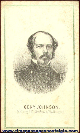 Early Engraved Image Card Of General Johnson