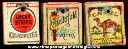 (3) Old Miniature Cigarette Pack Advertising Charms