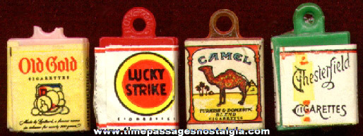 (4) Old Miniature Cigarette Pack Advertising Charms