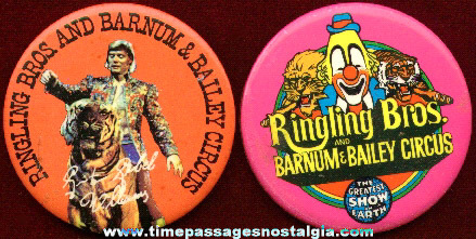(2) Different Ringling Brothers & Barnum & Bailey Circus Pin Back Buttons