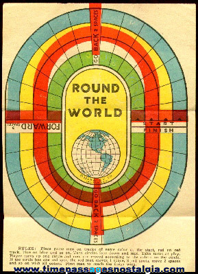 "Nice ""Round The World"" Cracker Jack Prize Paper Game Board"