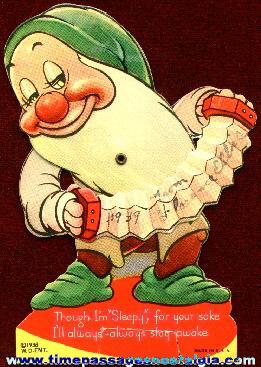"1938 Snow White ""Sleepy"" Dwarf Mechanical Valentine Card"