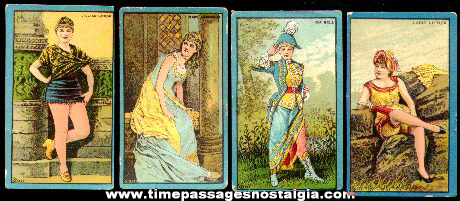 (4) Different Old Victorian Lady Trading Cards