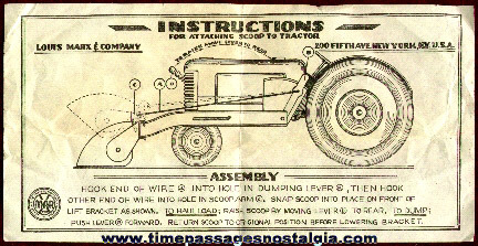 Instruction Sheet For An Early Marx Toy Tractor