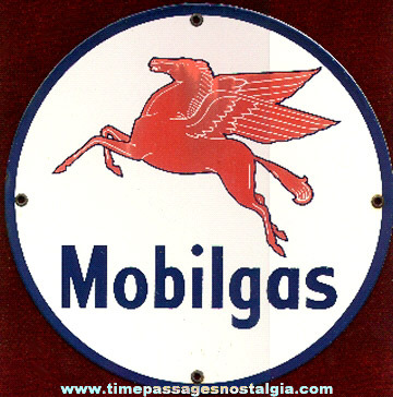 Mobilgas Enameled Sign