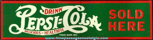 Embossed Tin Pepsi Cola Sign