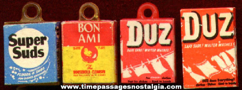 (4) Advertising Soap Box Charms & Miniature