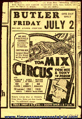 Original 1937 Tom Mix Circus Newspaper Advertisement
