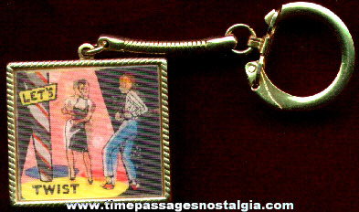 "Old ""Let's Twist"" Flicker / Lenticular Key Chain"