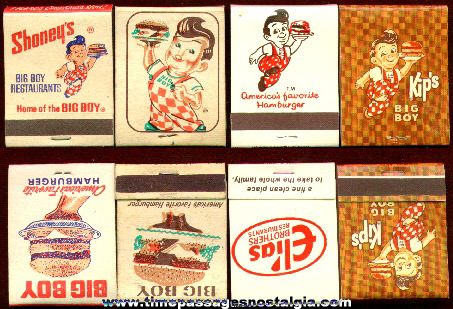 (4) Different Old Big Boy Restaurant Advertising Match Packs