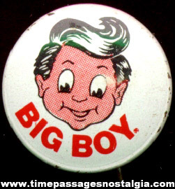 Big Boy Restaurant Advertising Character Pin Back Button