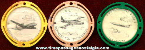 (3) 1950s Cereal Premium / Prize Airplane Flicker Disks
