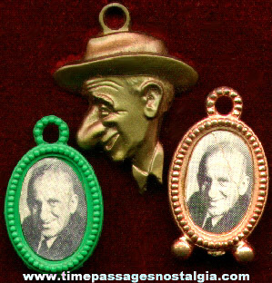 (3) Different Old Jimmy Durante Gum Ball Machine Charms