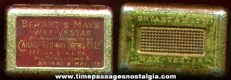 Early Bryant & Mays Wax Vestas Advertising Premium Match Safe