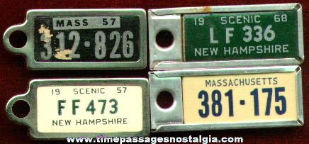 (4) Old Key Chain License Plate Charms