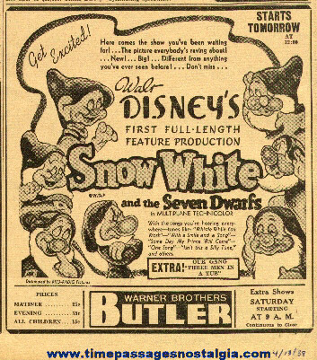 1938 Snow White & Seven Dwarfs Newspaper Advertisement