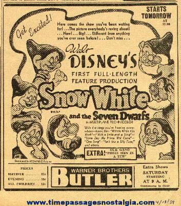 1938 Snow White & Seven Dwarfs Newspaper Advertisement