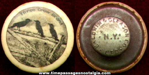 Old Three Crow Brand Celluloid Advertising Lapel Stud Button