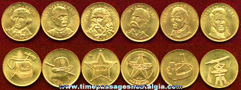 (6) Different Old Brass Western Hero Premium Coins