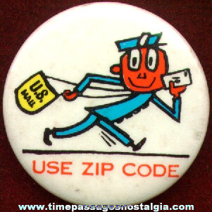 Old U.S. Mail Zippy Character Pin Back Button