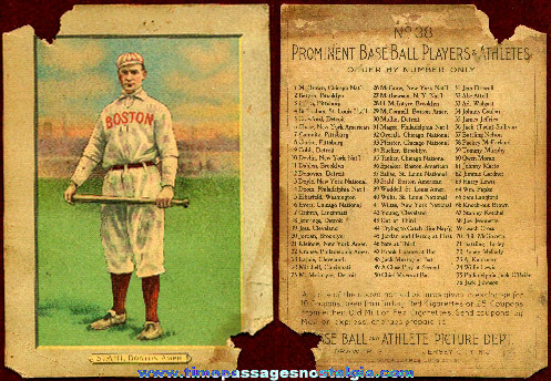 1911 Stahl Cigarette Premium Base Ball Card Picture