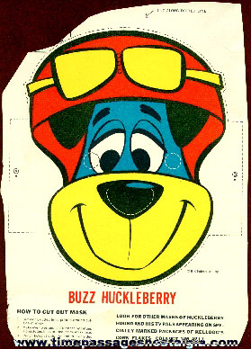 Old Kellogg's Corn Flakes Huckleberry Hound Cereal Box Back Mask