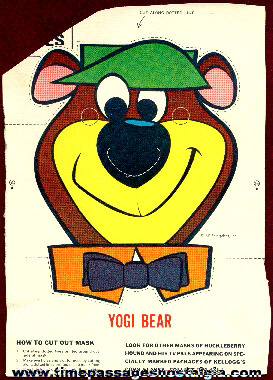 Old Kellogg's Corn Flakes Yogi Bear Cereal Box Back Mask