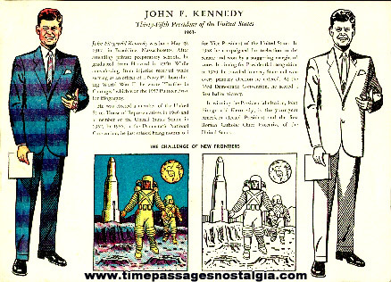 Old Unused President John F. Kennedy Coloring Sheet