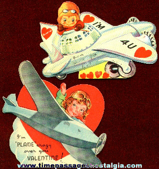 (2) 1939 Military Airplane Valentine Cards
