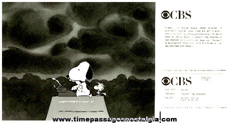 """©1988 """"Snoopy The Musical"""" CBS Promotional Photograph With Paper"""