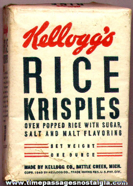 1940 Single Serving Kellogg's Rice Krispies Cereal Box