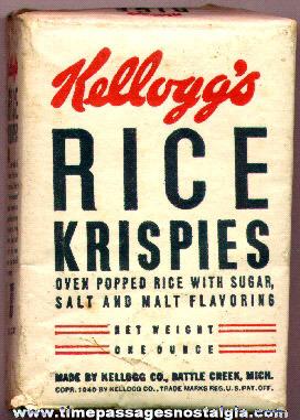 1940 Single Serving Kellogg's Rice Krispies Cereal Box