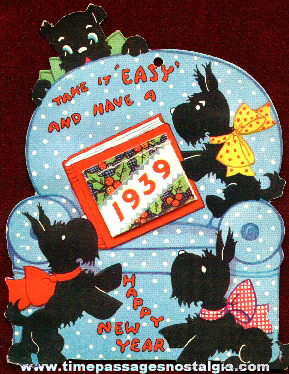 Scottie Dog New Years Greeting Card With A 1939 Calendar