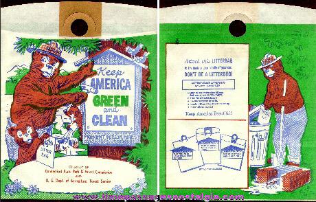 Old Unused Smokey The Bear Auto Litter Bag