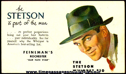 Old Unused Advertising Ink Blotter For Stetson Hats