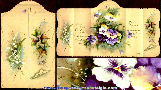 1898 Antique Hand Painted and Lettered Five Panel New Years Card
