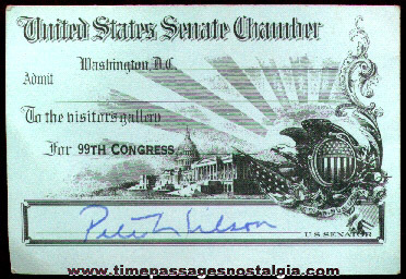 99th Congress United States Senate Chamber Admission Pass