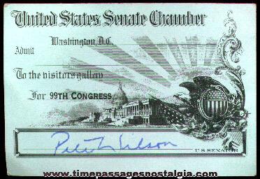 99th Congress United States Senate Chamber Admission Pass