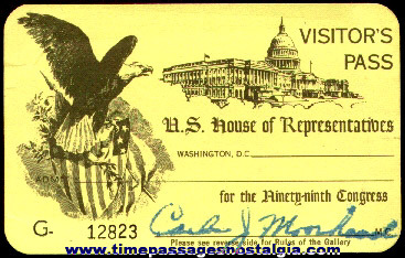 99th Congress U.S. House Of Representatives Visitor's Admission Pass
