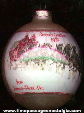1979 Anheuser - Busch Christmas / Season's Greetings Glass Ornament