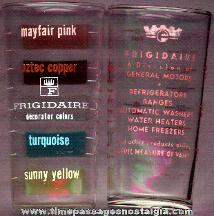 (2) Different Old Frigidaire Advertising Premium Measuring Glasses