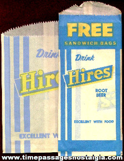 (7) Old Hires Root Beer Advertising Premium Sandwich Bags