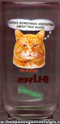 9-Lives Cat Food Advertising Drinking Glass With Morris The Cat