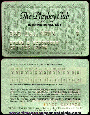 1976 Playboy Club International Key Card