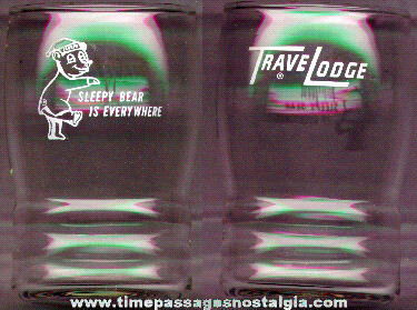 Old Trave Lodge Advertising Drinking Glass