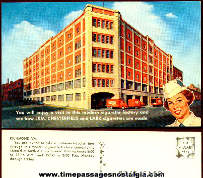 Colorful Old L & M / Chesterfield / Lark Cigarette Factory Post Card