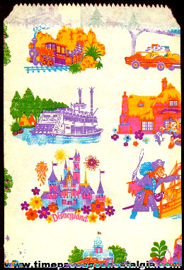 (3) Different Size Old Disneyland Paper Bags Of One Design
