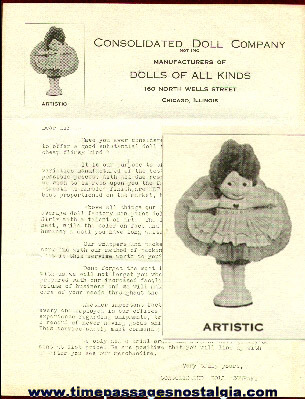 Early Consolidated Doll Company (of Chicago) Letter